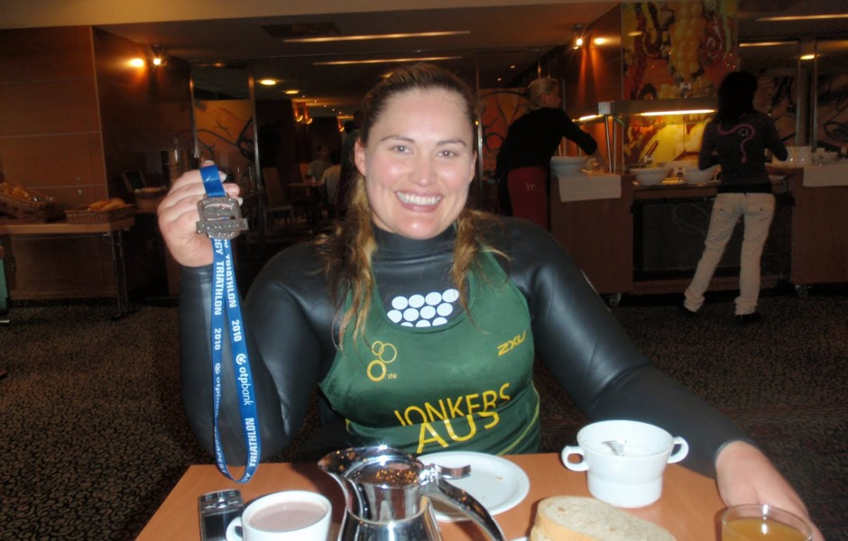 After a 3.30 wake up,we were back at the hotel about 5mins before 10am- just in time for me to have breakfast (in my wetsuit and soaking wet race top)
